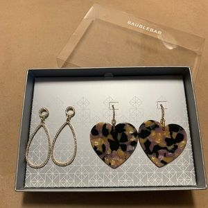 BaubleBar | Heart and Pave Drop Earring Set